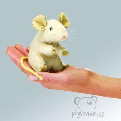 Plyšová hračka: Bílá myš na prst plyšová | Folkmanis