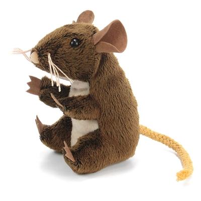 Plyšová hračka: Hnědá myš na prst plyšová | Folkmanis