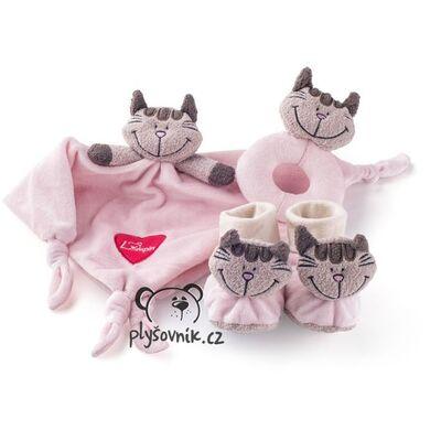 Plyšová hračka: Kočička pro miminko, růžová sada plyšák | Lumpin