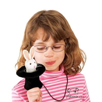 Plyšová hračka: Králík v klobouku na prst plyšový | Folkmanis