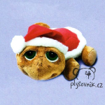 plyšová Velká vánoční želva Shelby s čepicí, plyšová hračka