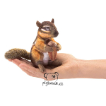 plyšová Veverka Chipmunk na prst, plyšová hračka
