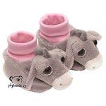 plyšové Růžové dětské botičky Oslík