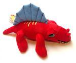 plyšový Červený Dimetrodon menší
