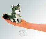 plyšový Maňásek na prst vlk šedý