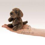 plyšový Sedící pes na prst