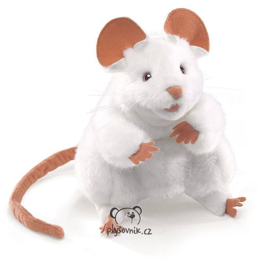 Bílá myš plyšová 20cm Folkmanis