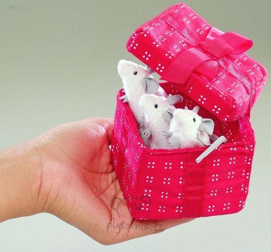 Myšky v krabičce plyšové 8 × 6 × 8cm Folkmanis