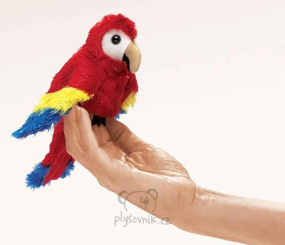 Papoušek ara na prst plyšový 17cm Folkmanis | skladem