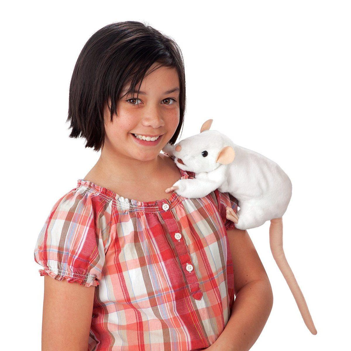 Bílá krysa plyšový 41cm Folkmanis | skladem