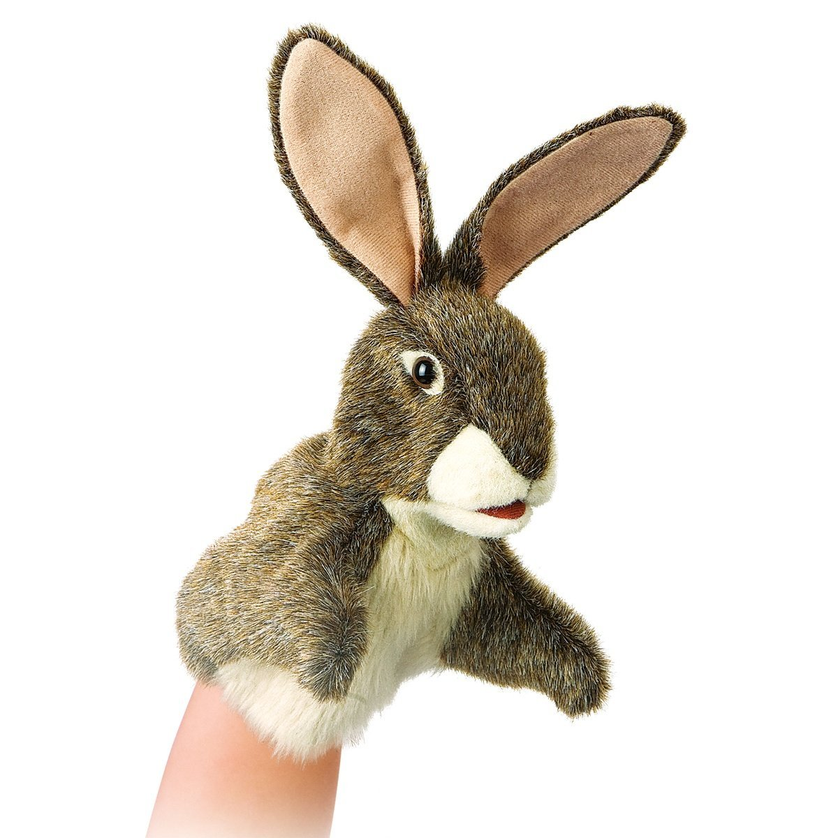Zajíc maňásek na ruku plyšový 12,5 × 25 × 12,5cm Folkmanis