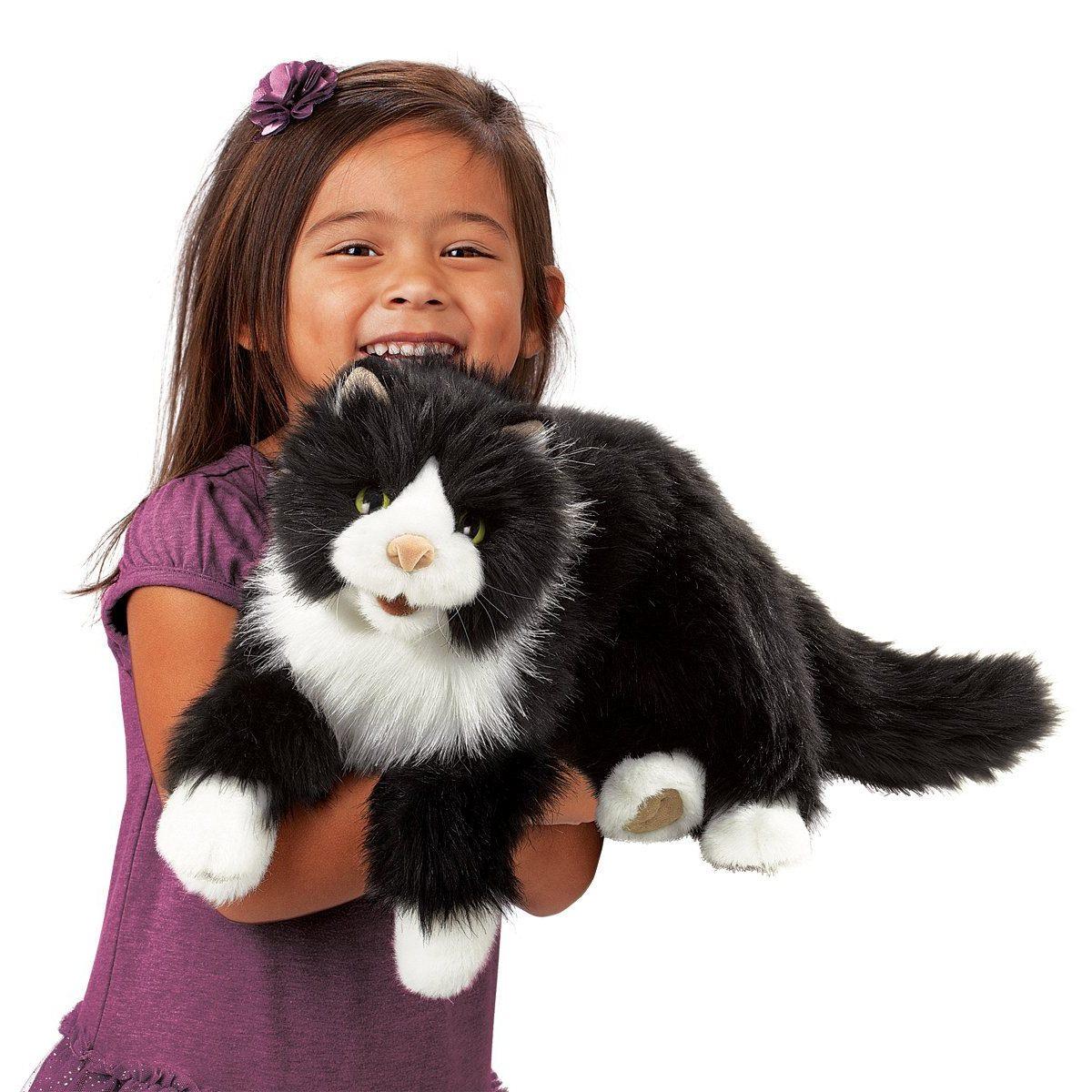 Černo-bíla kočka plyšový 53 × 17,5 × 15cm Folkmanis