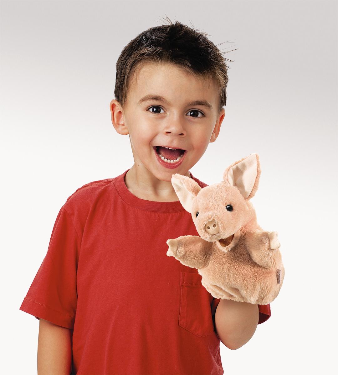 Prasátko maňásek na ruku plyšový 10 × 20 × 12,5cm Folkmanis