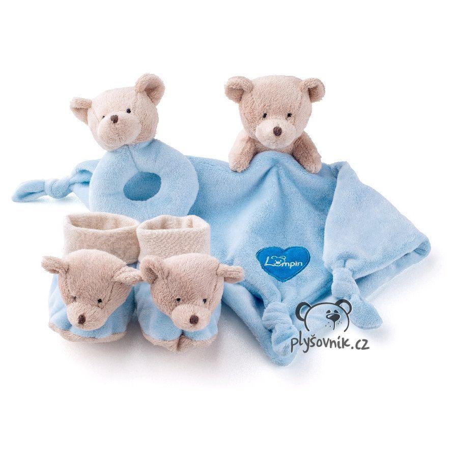 Medvídek pro miminko, modrá sada plyšák 30 × 30cm Lumpin | skladem