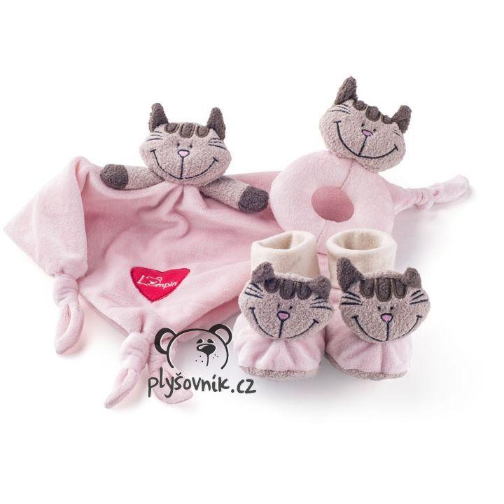 Kočička pro miminko, růžová sada plyšák 30 × 30cm Lumpin | skladem